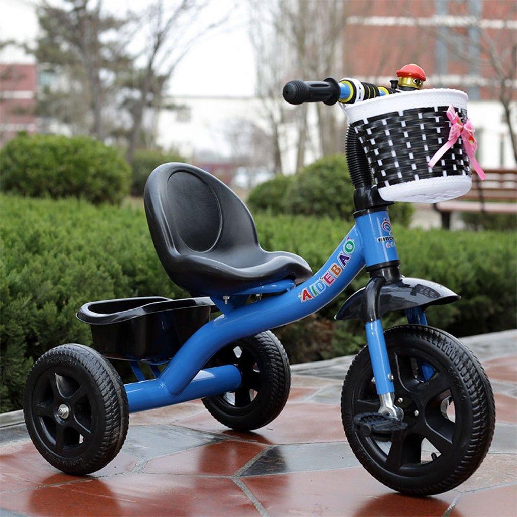 子供の三輪車の赤ちゃんの自転車の赤ちゃんのキャリッジ高炭素の自転車の自転車2-8歳の赤ちゃんの三輪車の足、ピンク/赤/緑/青、72 * 50 * 68センチメートル (Color : Blue) B07CTD14R3