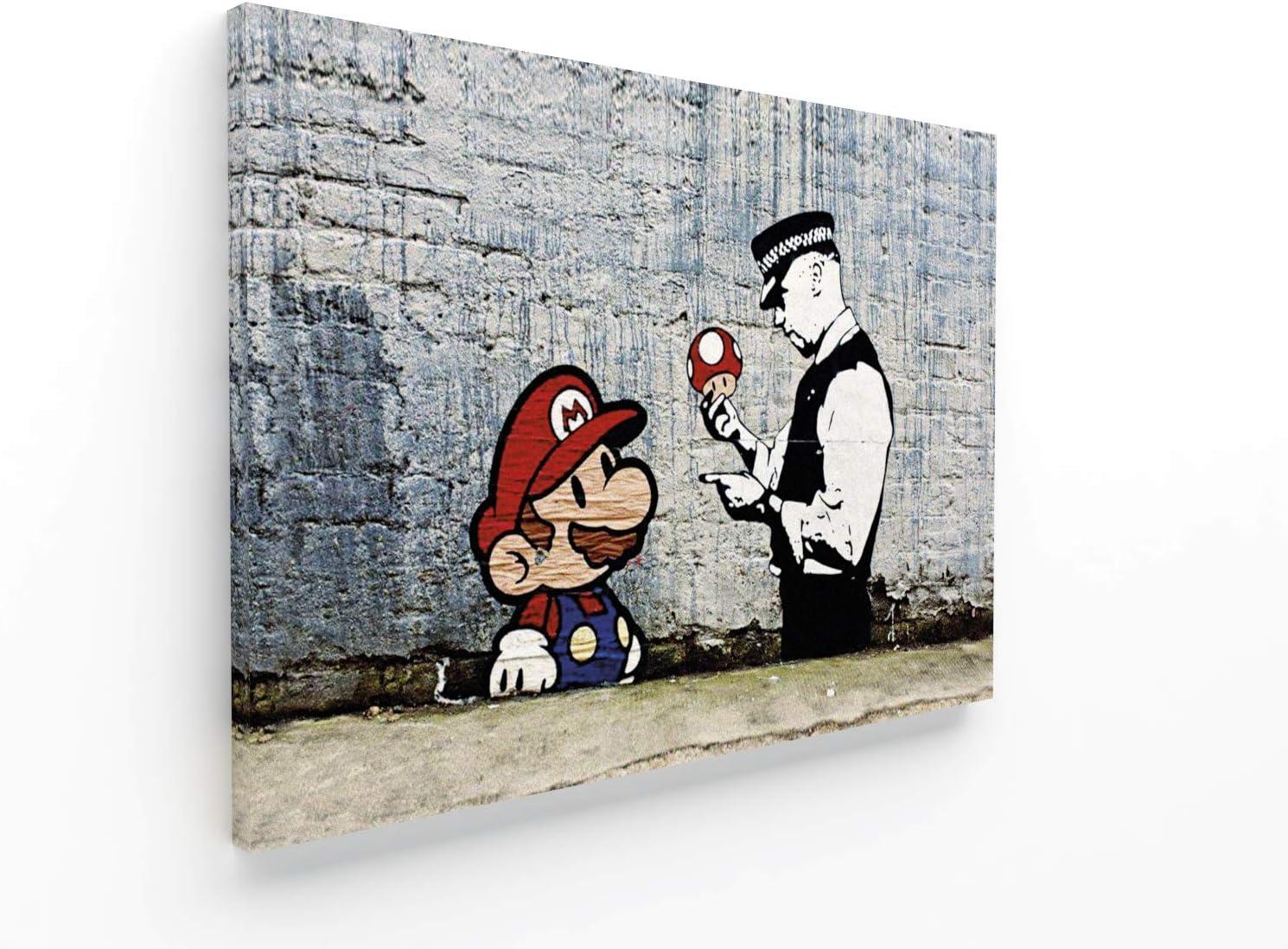 /5 piezas XXL Impresi/ón Material Tejido no Tejido Art/ística Imagen Gr/áfica Decoracion de Pared /006551b Cuadro en Lienzo/Banksy Street Art Mario 200 x 100 cm Listo para colgar