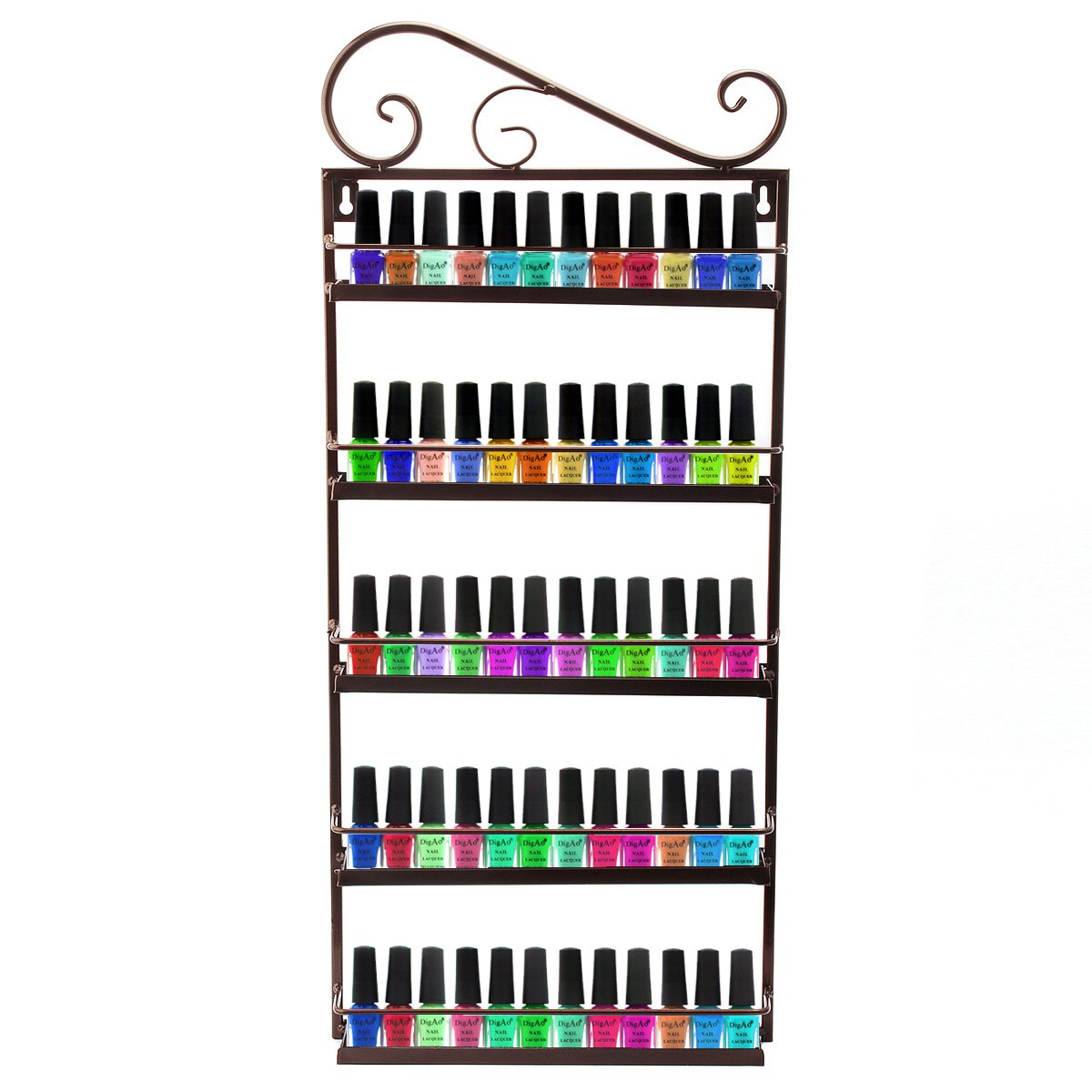 Dazone DIY Metal Nail Polish Mountable 5 Tier Organizer Nail Polish Wall Rack Organizer Holds 50 Bottles Nail Polish (Bronze)
