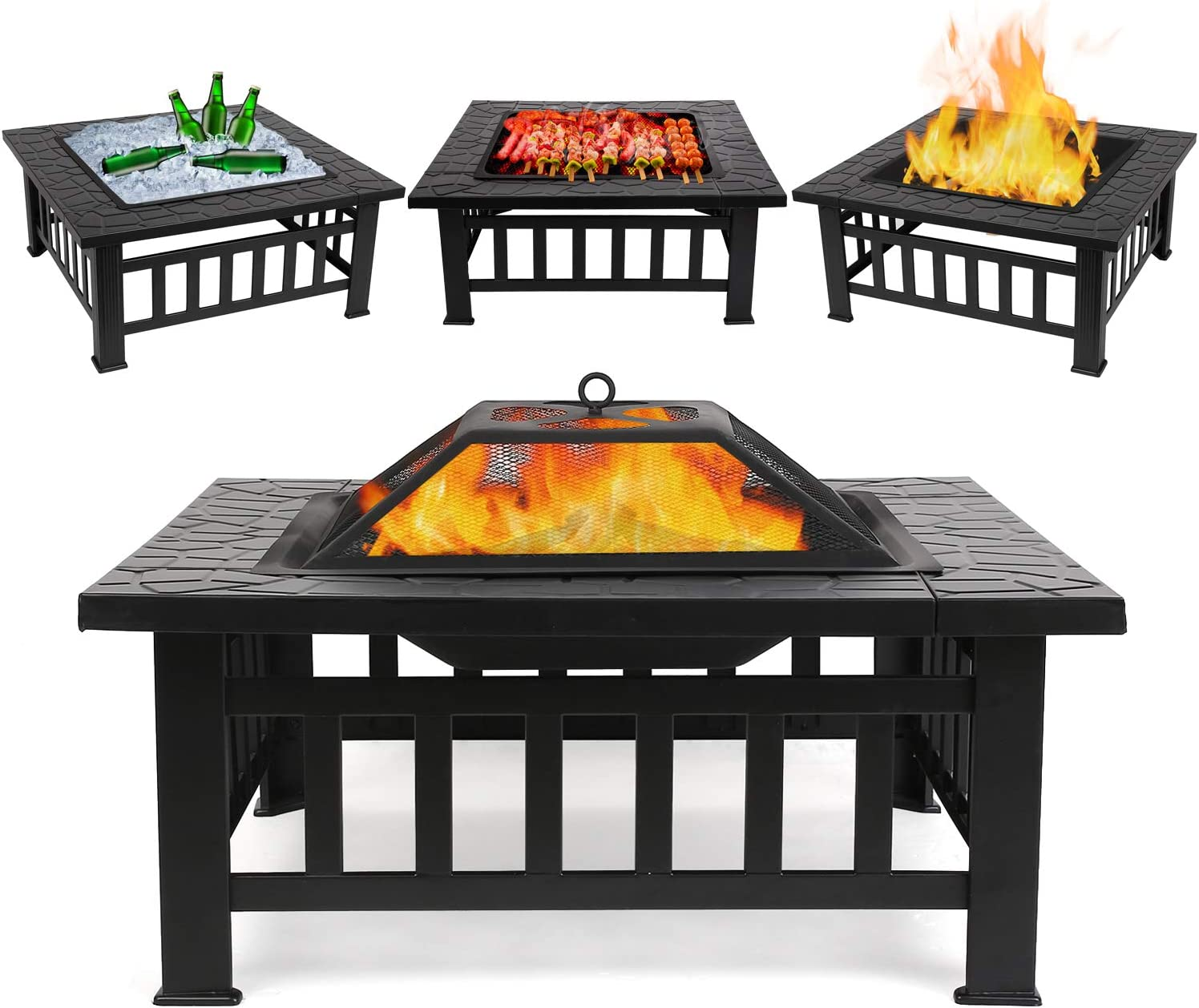 FIXKIT Fire Pit Table Outdoor with BBQ Grill Shelf, Multifunctional Garden Terrace Fire Bowl Heater BBQ Ice Pit, 32 Diameter Square Fireplace with Waterproof Cover