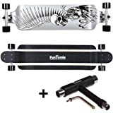 FunTomia Longboard Skateboard Drop Through Cruiser Komplettboard mit Mach1® ABEC-11 High Speed Kugellager T-Tool