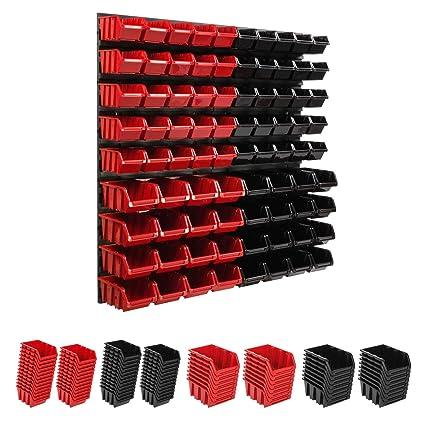 58 stck Extra Starke Wandplatten Box Stapelboxen Sch/üttenregal Sichtlagerk/ästen Lagersystem Wandregal 772 x 780 mm Regal Erweiterbar Werkstattregal Lagerregal Werkstattwandregal Steckregal