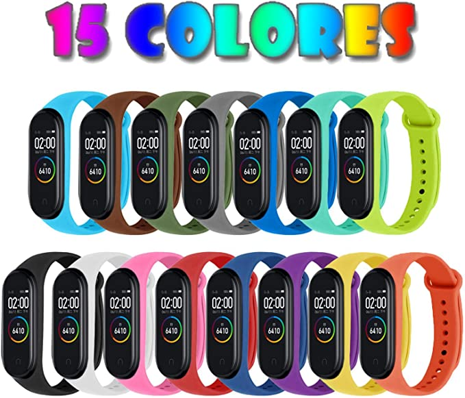 Monuary 15 Piezas Correas para Xiaomi Mi Band 4 / Mi Band 3 Pulsera Reloj Silicona Banda para Xiaomi Mi Band 4 Reemplazo - 15 Colores: Amazon.es: Electrónica