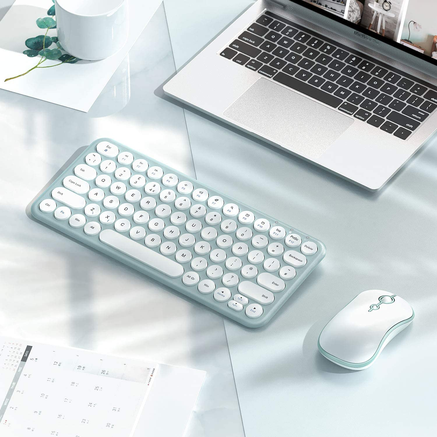 Green /& White Rechargeable Keyboard and Mouse Small Low Profile Compact Keyboard and Mouse Set for Windows Devices Wireless Keyboard Mouse UK Layout