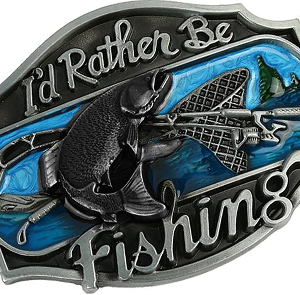 Western Style Funny Casual Belt Buckle I/'d Rather Be Fishing Belt Buckle