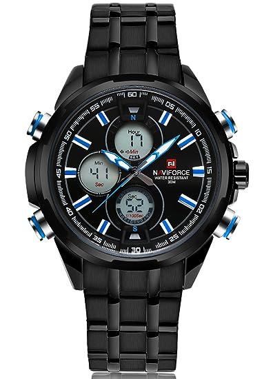 Carrie Hughes Hombres Relojes de acero inoxidable negro Analógico Cuarzo Digital Deporte Militar reloj CH50: Amazon.es: Relojes