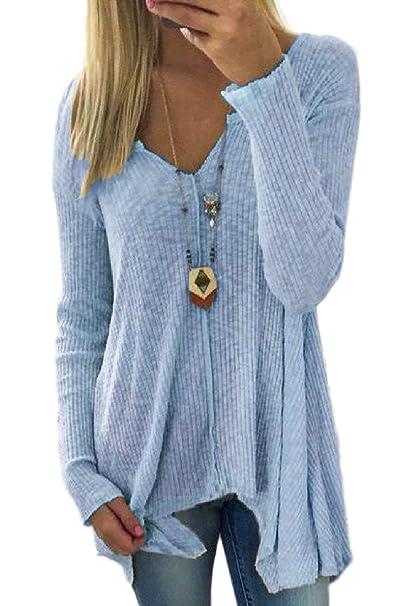 Suéter Asimétrico De Punto De Mujeres Las Moda Suéter De Punto De Color  Sólido De Ocio Elegante De Tops  Amazon.es  Ropa y accesorios 48d9f598c4d0
