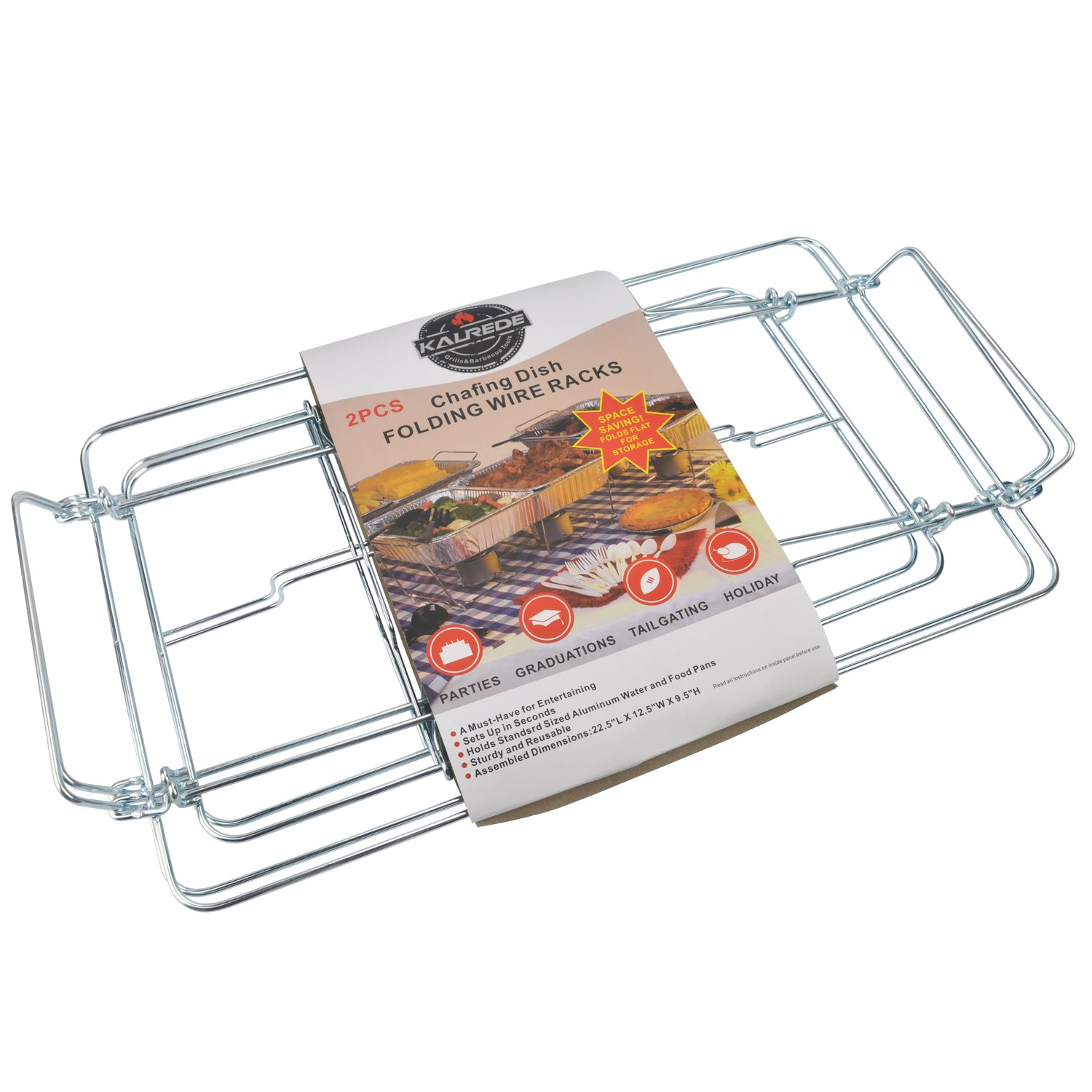 KALREDE Chafing Dish Rack Set - Folding & Foldable Chafing Dishes Stand Holder -Super Sturdy Buffet Set Buffet Warmer Food Warmer Rack -Chrome Wire Chafing Chafer Stand for Party Accessories( 2 Pack) by Kalrede (Image #2)