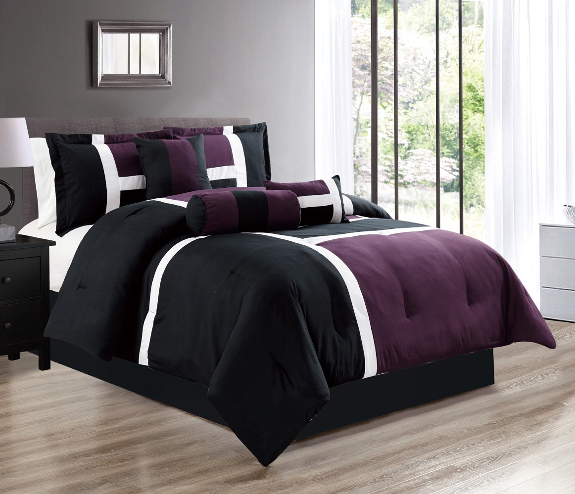 PURPLE/BLACK/WHITE Color Block Emma Comforter set