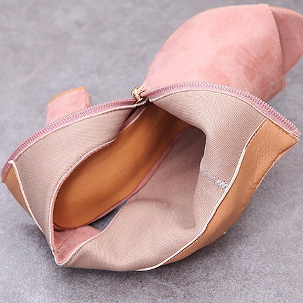 GATUXUS Women Open Toe Suede Boots Zipper Cut Out High Block Heel Ankle Booties