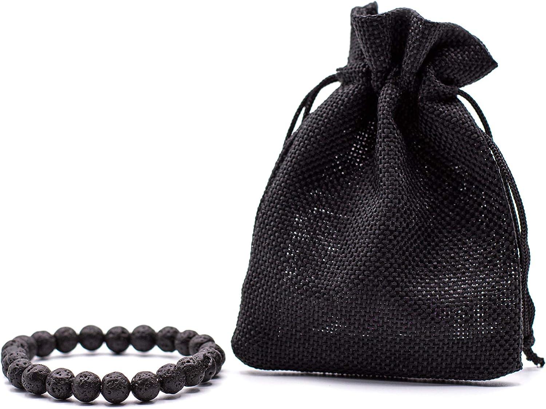 Pulsera Negra Natural volcánica Pulsera Mujer Pulsera Hombre con Bolsa Regalo [Energética Onix] 7,5cm Ajustable Protección Espiritual Elimina Estrés Ansiedad Chakra