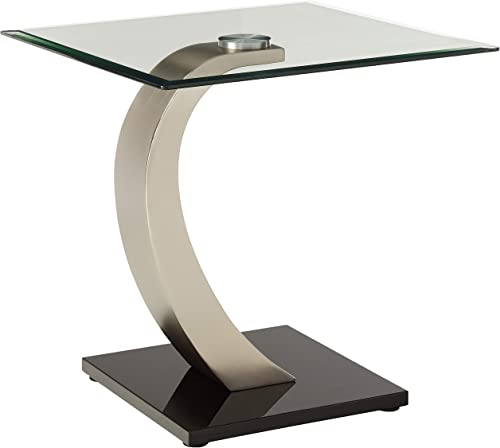 Coaster Home Furnishings End Table with Glass Top in Silver and Black Metal Base