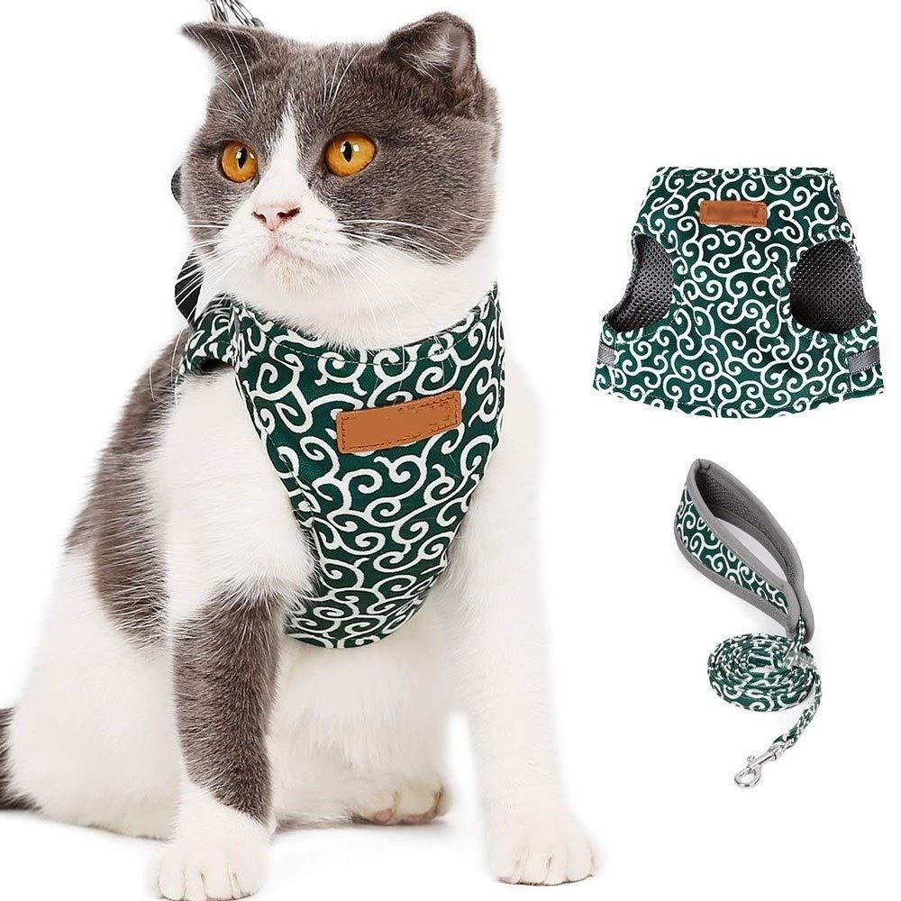 KDKDA Pet Harness Belt with Leash Set, Cat Harness and Leash Adjustable Soft Mesh Pet Harnesses Belt, Best for Kitten Walking (Color : Green, Size : XS) by KDKDA