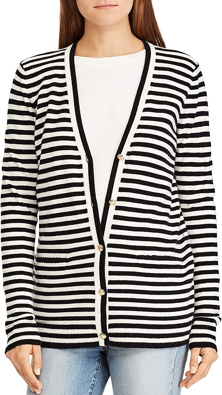 LAUREN RALPH LAUREN Anneka Women's Cashmere Cardigan Sweater Black Size S