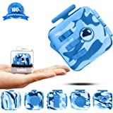 Fidget Toy Cube Blue Camo Relieves Anxiety and Stress for Kids and Adults - Comes with Case