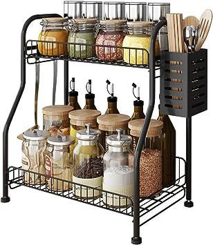 US 2-Tier Metal Kitchen Rack Seasoning Storage Unit Shelf Organizer Bath Z73