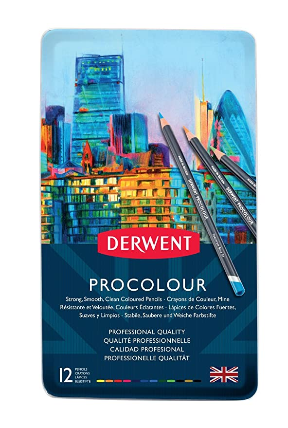 Amazon Derwent Colored Pencils Procolour Drawing Art Metal Tin 12 Count 2302505 Office Products