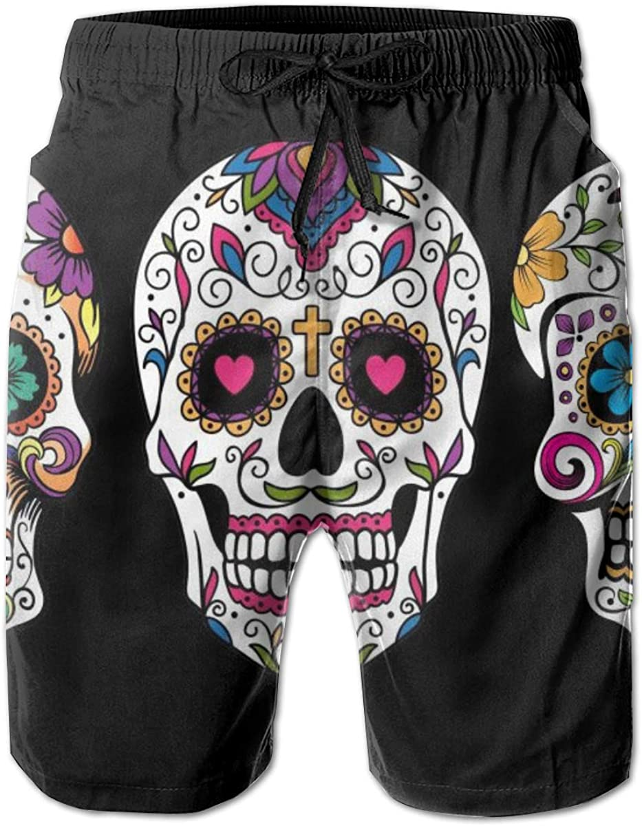 Mens Skull Quick Dry Short Swim Trunk Classic Fit Surf Beach Shorts with Pockets for Mens
