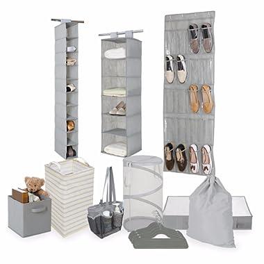 Tidy Living Bundle - Organization Storage Solution Set - Shower Caddy, Hanging Organizers, Hangers, Underbed Storage, Hampers, Laundry Bag, Bin (Grey)