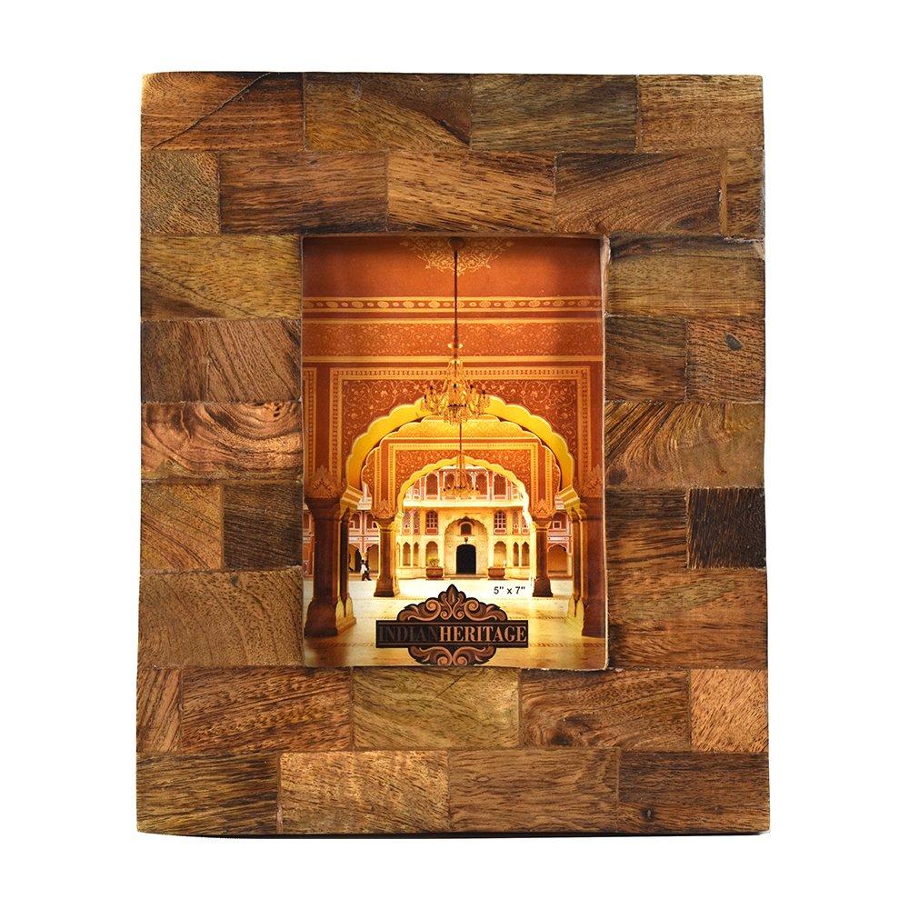 Indian Heritage Wooden Photo Frame 5x7 Mango Wood Block Design in Dark wood Finish