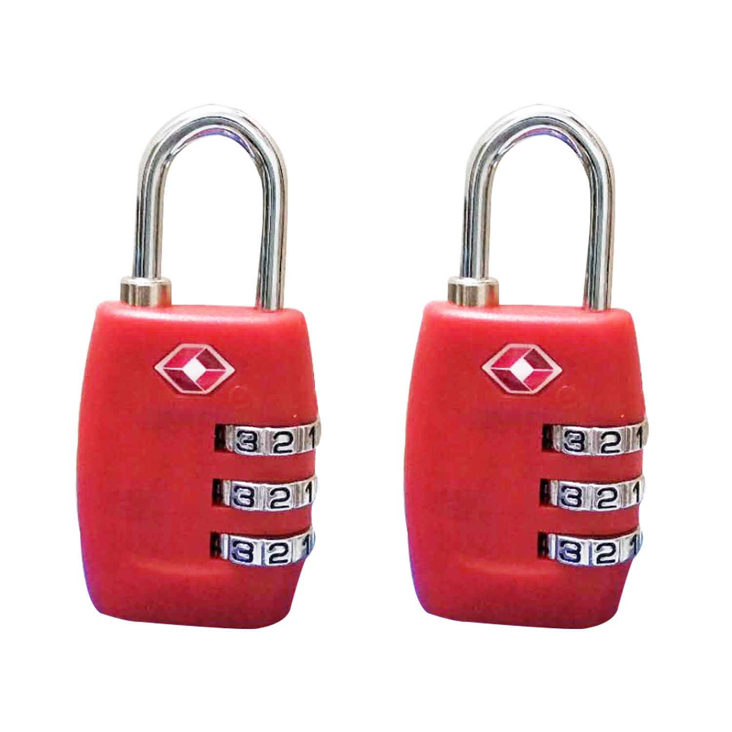 ANSATSY TSA Luggage Locks - 3 Digit Combination Steel Padlocks – TSA Approved Travel Lock for Suitcases & Baggage, Heavy Duty Luggage Lock for Travel Safety and Security (2 Pack) (Red)