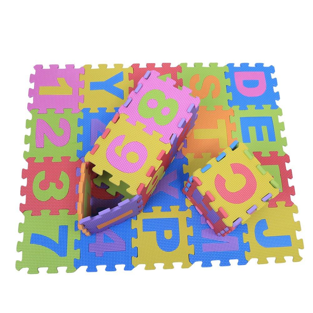 72Psc Suave EVA espuma infantil Juego Alfombrillas letras Beb/é Coj/ín Reptantes Multicolor Suelo Cuadrada Puzzle Parte Seguridad Yoga Aptitud Alfombrillas Espesor de 1.5cm