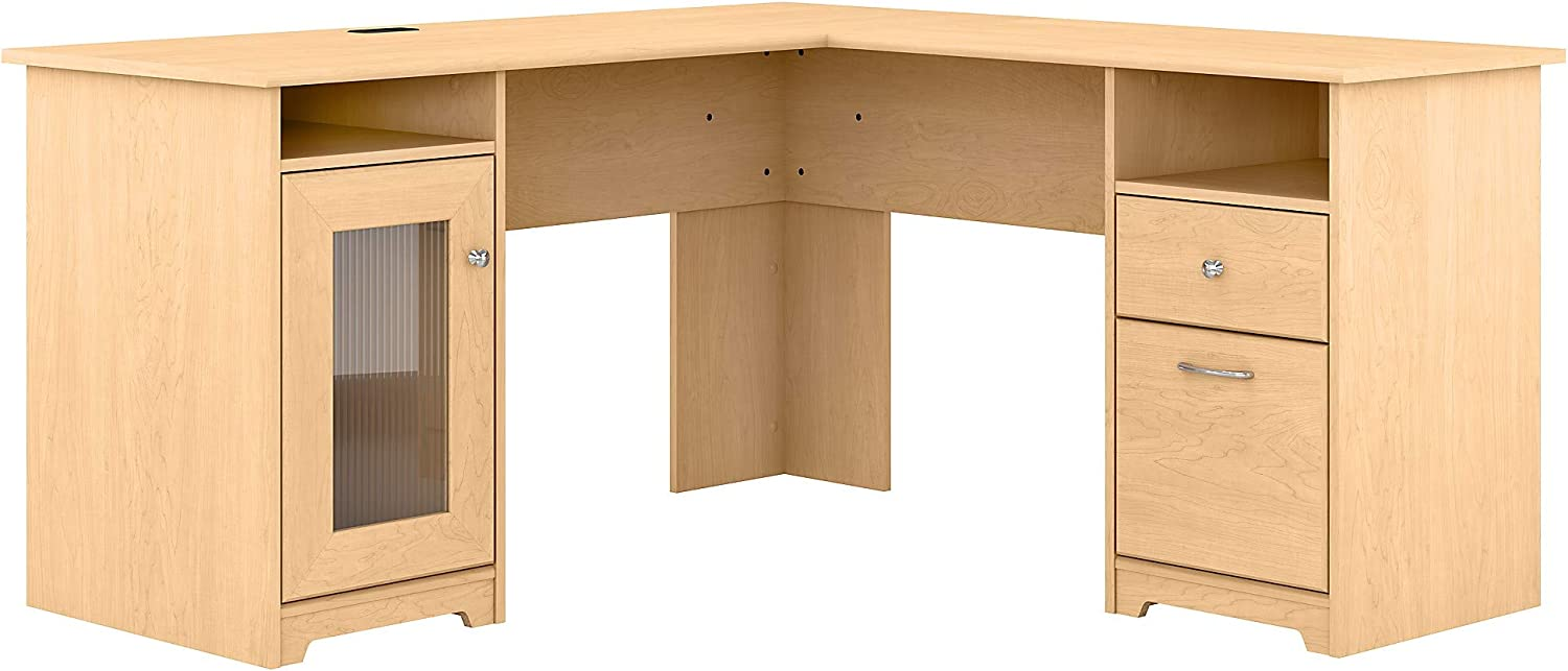 Bush Furniture Cabot L Shaped Computer Desk, 60W, Natural Maple