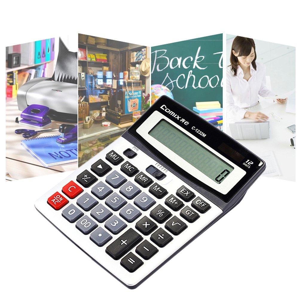 KKmoon Comix c-1222/m 12/d/ígitos calculadora de escritorio con soporte ajustable