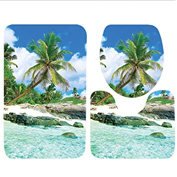 Keshia dwete tres piezas para inodoro asiento Pad customcoastal colección Cafe en la playa de madera Base y cielo fiesta restaurante Romance Escena imagen ...