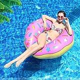 Donut Schwimmring, infinitoo Aufblasbarer Donut Schwimmreifen Float Spielzeug Ø 110cm Rosa für Erwachsene und Kinder, Pool Luftmatratze Schwimmreifen für Pool Party Strand etc