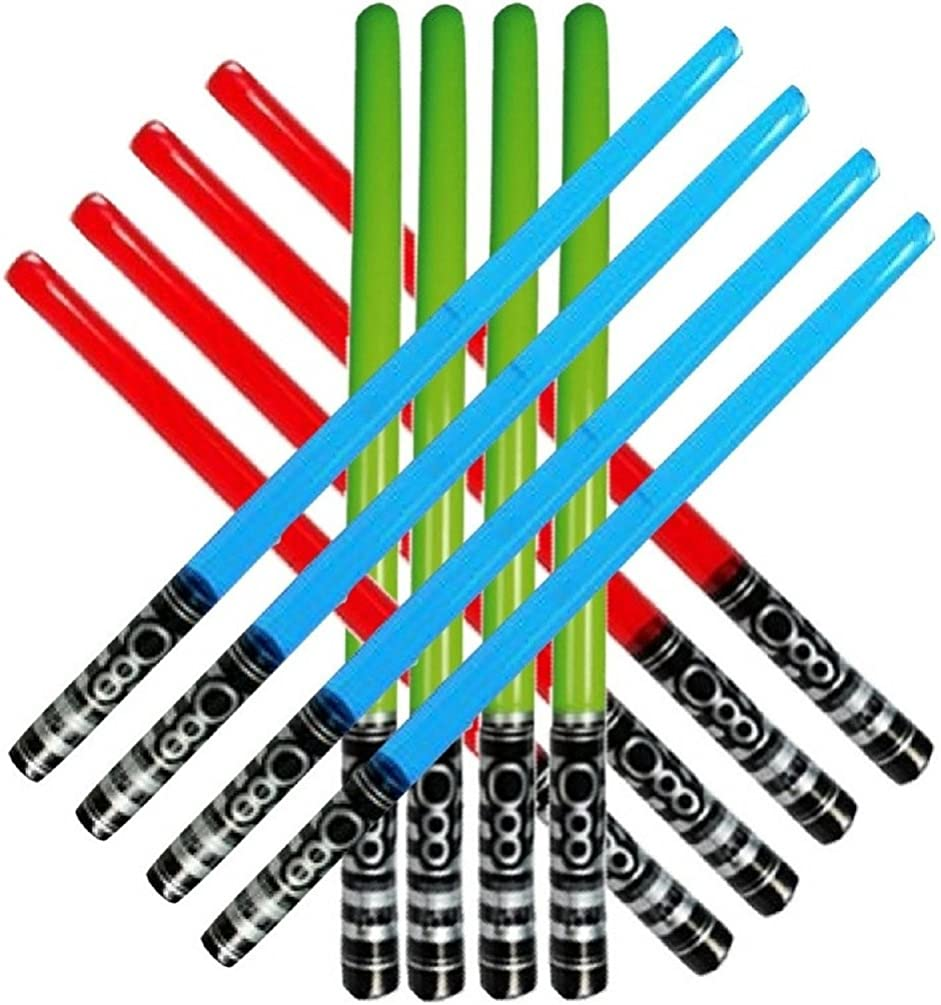 Honey Badger Brands Inflatable Play Light Saber - Great For Star Wars Parties and Favors, Larp, Halloween, Christmas Stocking Stuffers, and More! (12 Pack-4 Red, 4 Blue, 4 Green)