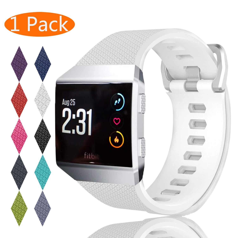 100%品質 Fitbit Ionic帯 White、kingaccソフトアクセサリー交換バンドFitbit Ionic、メタルバックルフィットネスリストバンドストラップレディースメンズ[ 7.1