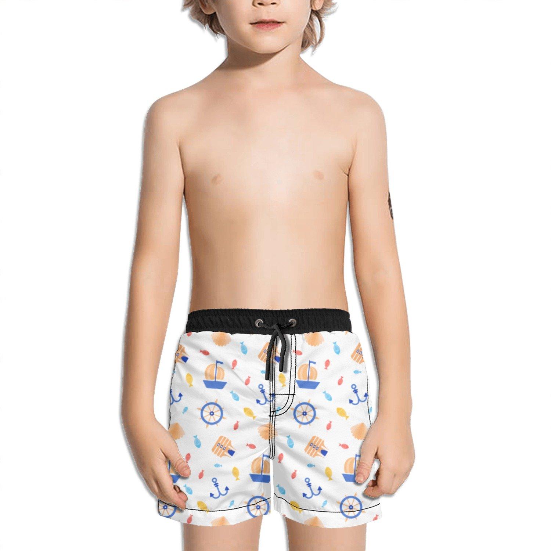 Juliuse Marthar Anchor and Shell Fashion Swimming Trunks Short Quick Dry Summer Short for Children
