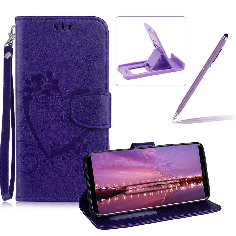 PU Leather Case For Samsung Galaxy S9, Strap Magnetic Wallet Folio Cover for Samsung Galaxy S9, Herzzer Elegant Slim Purple [Love Hearts Flower Embossed] Stand Phone Case