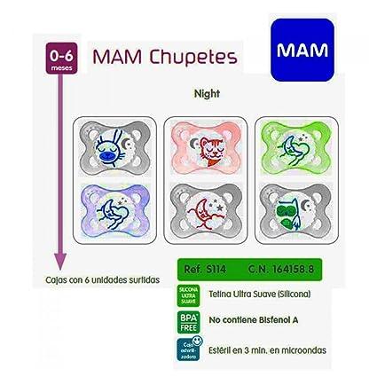 MAM - MAM CHUP NIGHT SILICONA0-6M 2U: Amazon.es: Bebé