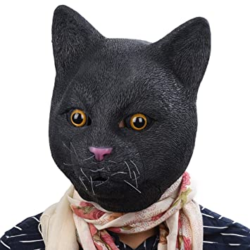 Party Story Gato Máscara de Animal de Látex Novedad Disfraz de Halloween Máscaras (Negro): Amazon.es: Juguetes y juegos