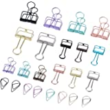 Pangda 15 Pieces Wire Binder Clips Organizers and 50 Pieces Drop Paper Clips with a Storage Box, Assorted Color, Total 65 Pieces