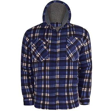 Carreaux carreaux doublée pour homme en polaire lumberjack veste à capuche des travailleurs