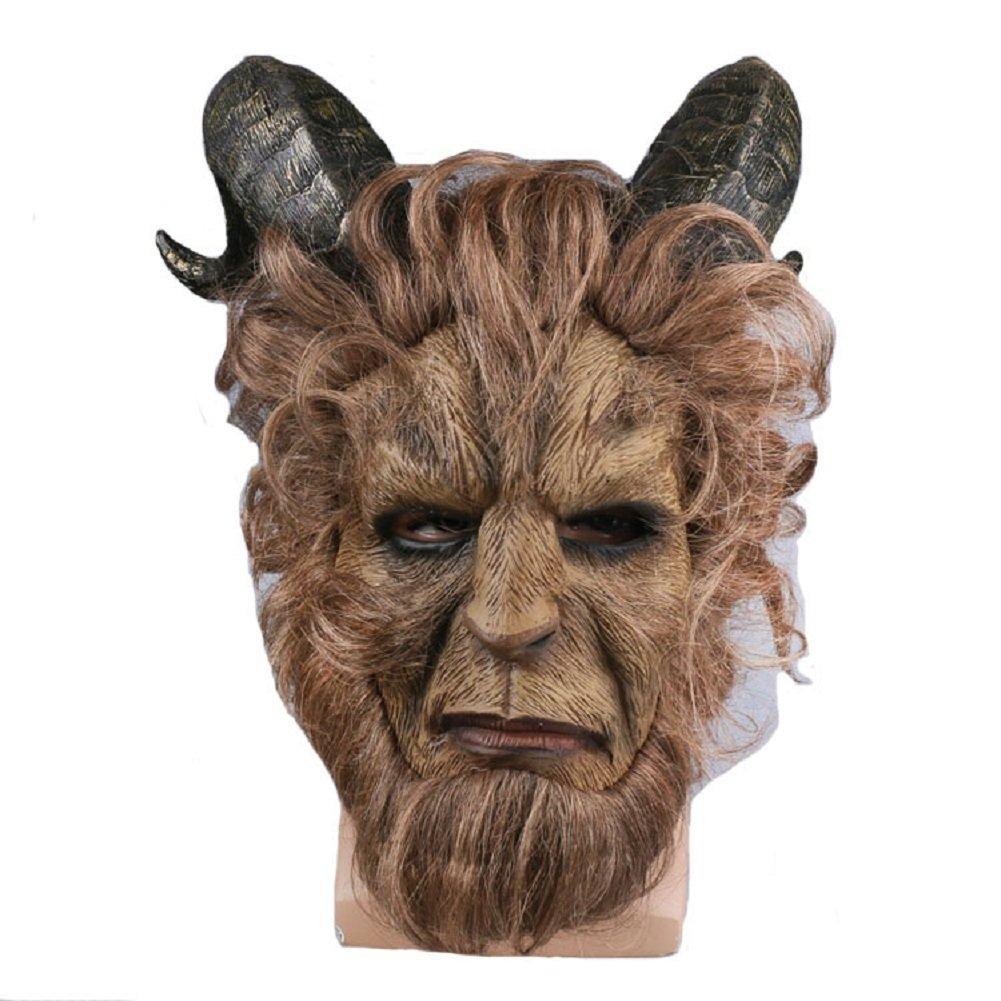 Meelanz Halloween Beast Mask Cosplay Costume Beast Horns Faux Fur Mask