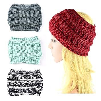 39212308329af Amazon.com  Women s Girl Stretch Knit Hat Messy Bun Ponytail Beanie ...