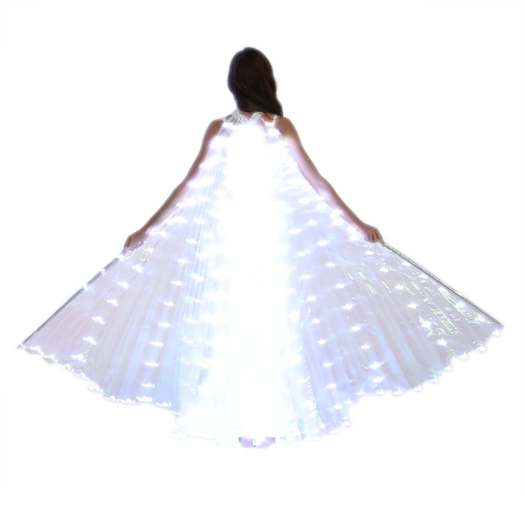 Dance Fairy Belly Dance LED Isis Wings with Stick(White) by Dance Fairy (Image #6)