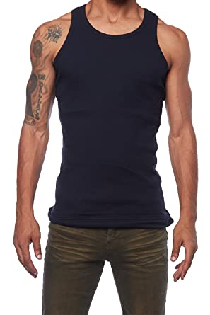 7f154c3d63876 GENX Mens Basic Solid Muscle Workout Ribbed Tank Top DT09 at Amazon ...