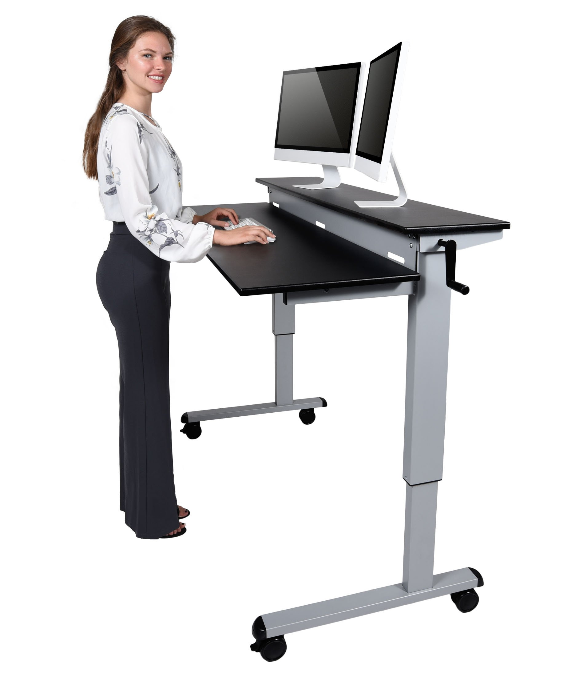 Crank Adjustable Sit to Stand Up Desk with Heavy Duty Steel Frame (60'', Silver Frame/Black Top)