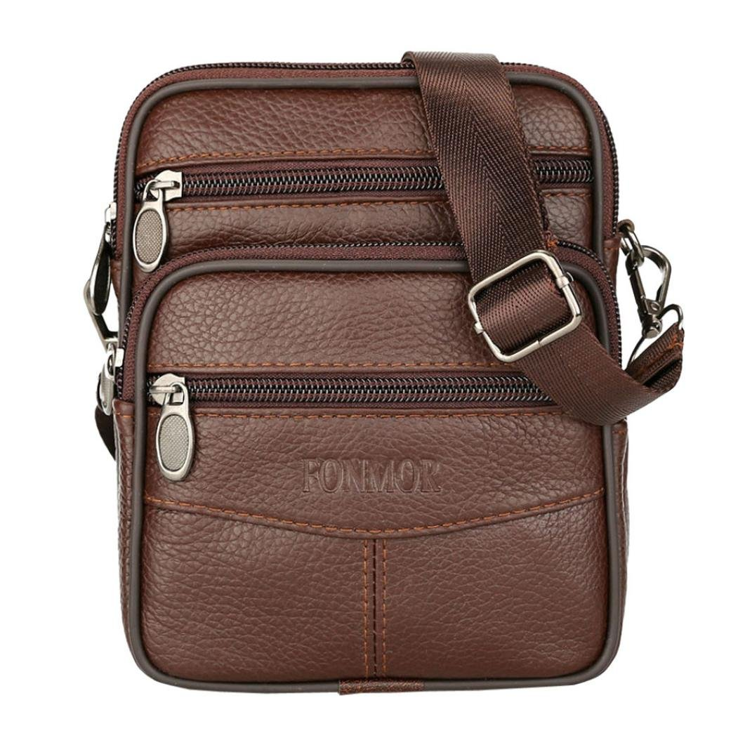 ❥Tefamore Vintage Men Leather Commerce Crossbody Bags 2018 New Shoulder Pure ColorBag Waist Bag Tefamore-bag