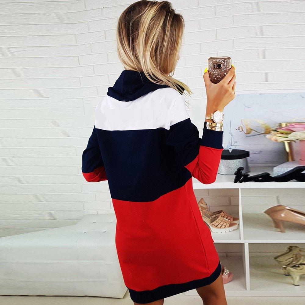 Amazon.com: Muranba Women Long Sleeve Patchwork Casual Bodycon Sweatshirt Pullover Dress: Clothing