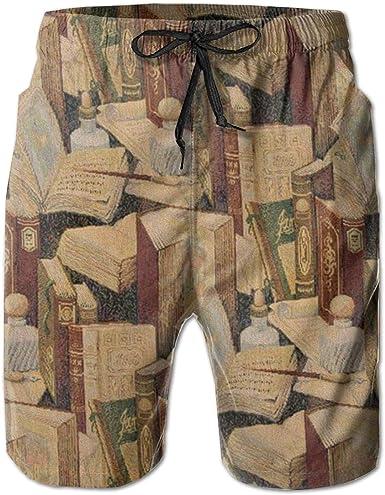 Kling Pantalones Cortos De Nadar Para Hombres Libro Con Boligrafo Pantalones Cortos De Playa De Secado Rapido Amazon Es Ropa Y Accesorios
