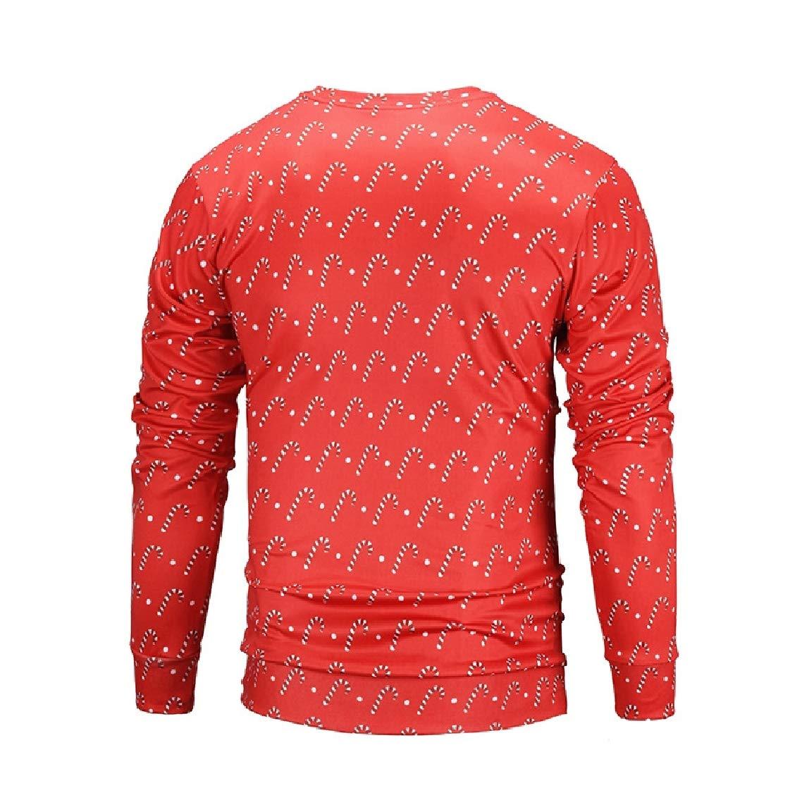 Godeyes Mens Chirstmas Red Crew-Neck Simple Print Sweatshirt