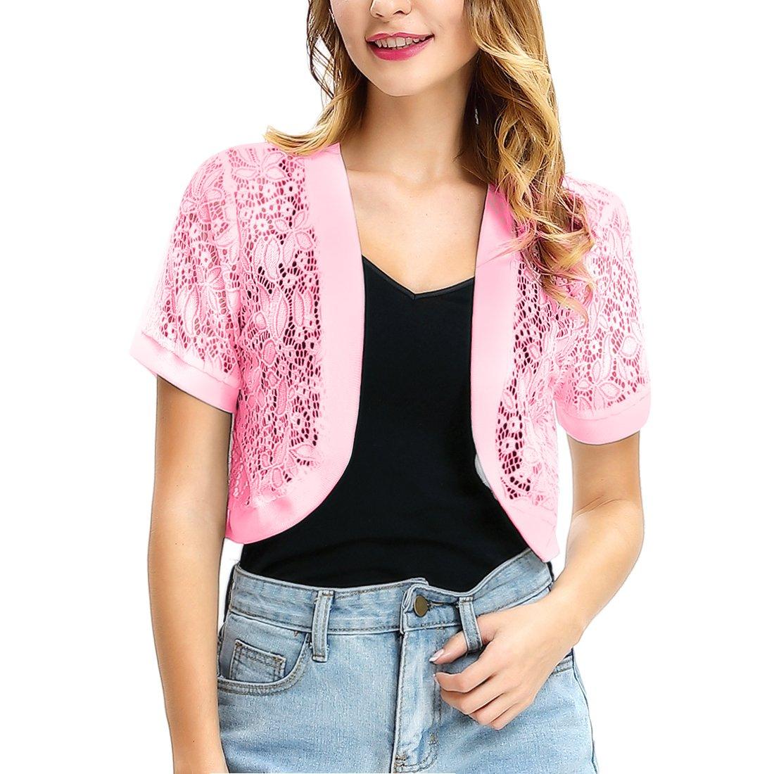 CJ Women Solid Button Down Long Sleeve Cropped Bolero Cardigan (S-XXL) (Pink, XXL)
