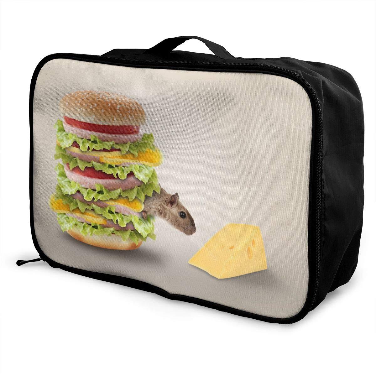 Travel Luggage Duffle Bag Lightweight Portable Handbag Hamburger Large Capacity Waterproof Foldable Storage Tote