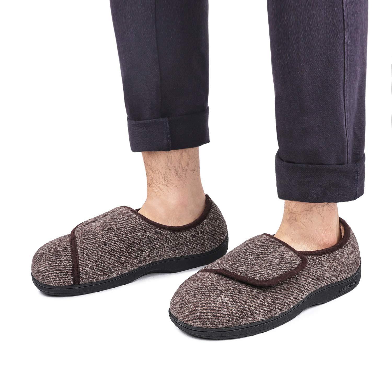 LongBay Mens Memory Foam Diabetic Slippers Comfy Warm Plush Fleece Arthritis Edema Swollen House Shoes